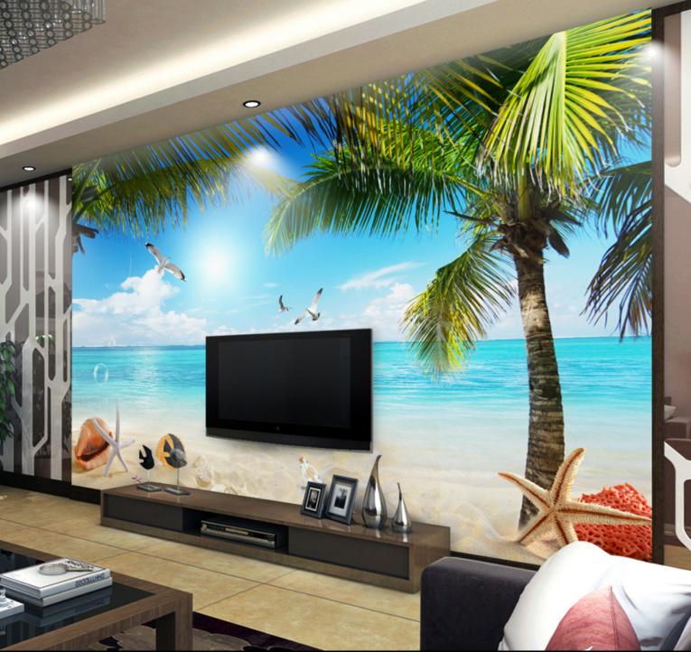 3D Beach Trees Birds 7 Wall Paper Murals Wall Print Wall Wallpaper Mural AU Kyra