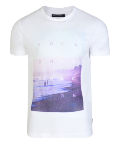 French Connection Summer Beach Print Graphic T-Shirt White Slim Fit Cotton Tee