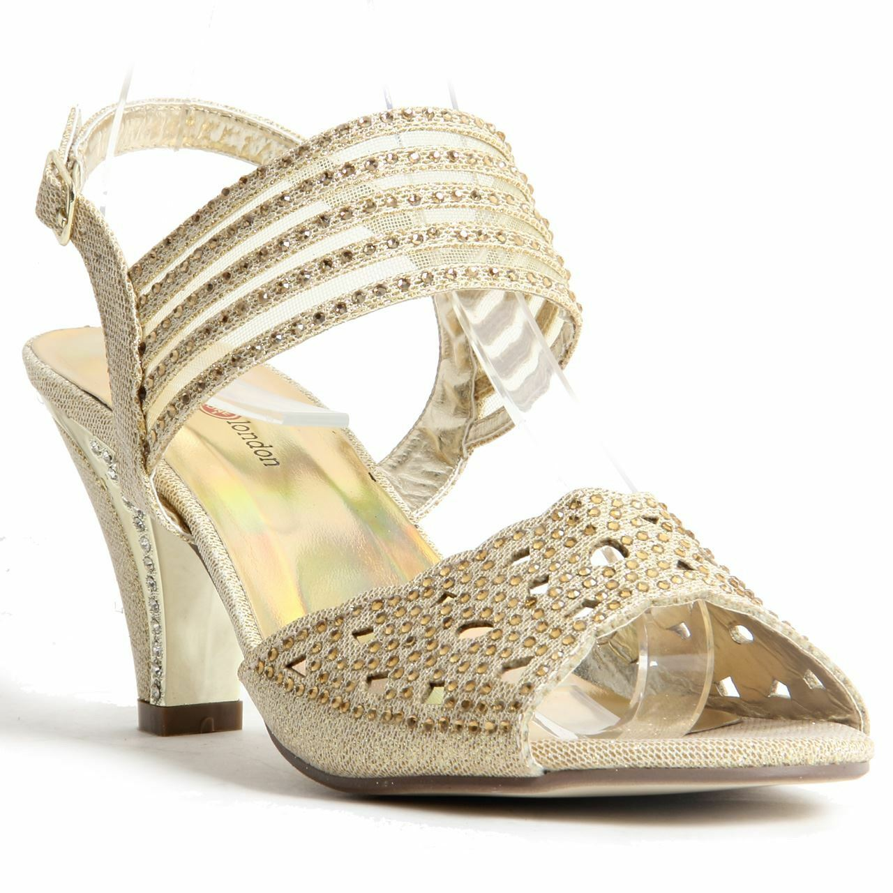 Womens Ladies Sparkling Diamante Block Heel Party shoes Buckle Up Sandals gold