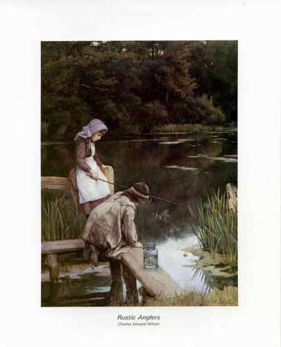 Print RUSTIC ANGLERS Vintage Children/'s Art 8x10 In