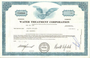 Water Treatment Corporation > 1969 stock certificate share
