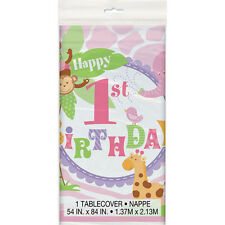 1st BIRTHDAY Pink Safari PLASTIC TABLE COVER ~ Party Supplies Decorations Cloth