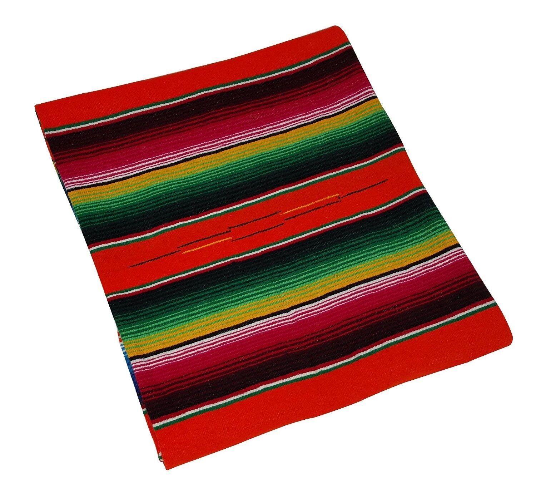 203 Fine Sarape Mexican Blanket Authentic Original El Paso orange Bright Crush