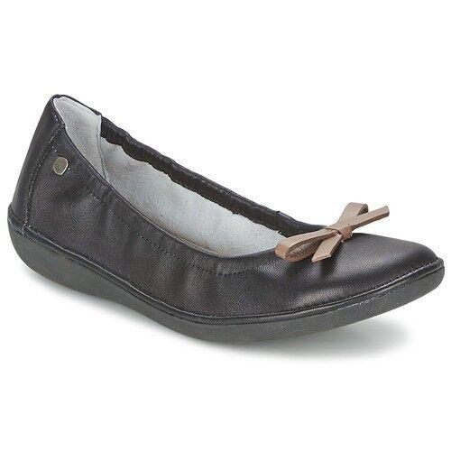 Chaussure ballerine en cuir TBS MACASH color black+taupe pour femme pointure 37