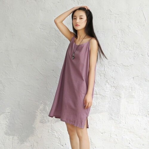 Damen Leinen Baumwolle Unterhemd langes Kleid Tank Top Sommer dünn Weste