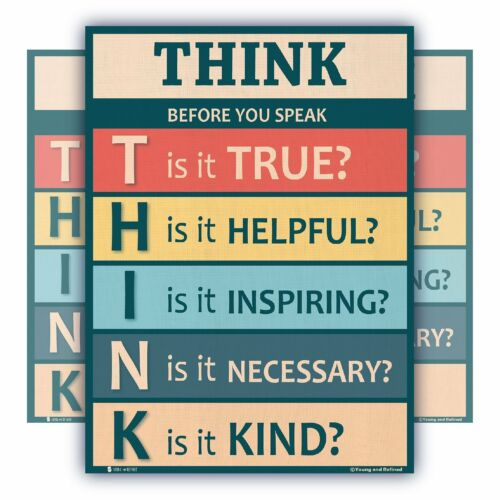 Think before you speak LAMINATED motivational chart rainbow classrooms poster