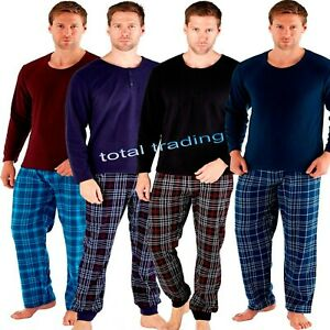 Mens-Gents-Fleece-Pyjama-Set-Pjs-Long-Sleeve-top-and-Bottoms-Winter-Warm