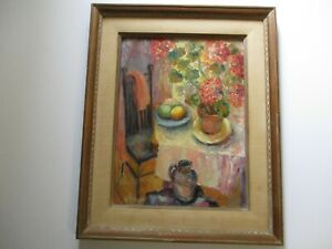 RUTH-MAUK-OIL-PAINTING-EXHIBITED-MID-CENTURY-MODERN-STILL-LIFE-VINTAGE-FLORAL