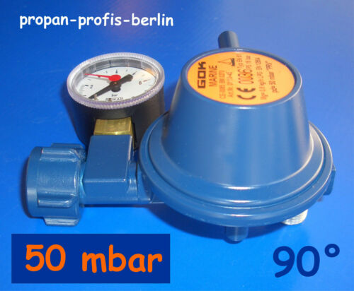 2019 GOK Druckminderer//Gasregler Boot Marineregler 50 mbar 90° mit Manometer