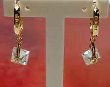 585/14K Gold Zirconia Earrings Hoop Women´s Ear Jewellery 3,56gr.Gelbgold