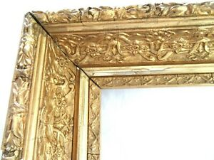 ANTIQUE-FITS-11-6-X13-18-034-GOLD-PICTURE-FRAME-WOOD-GESSO-ORNATE-FINE-ART-COUNTRY