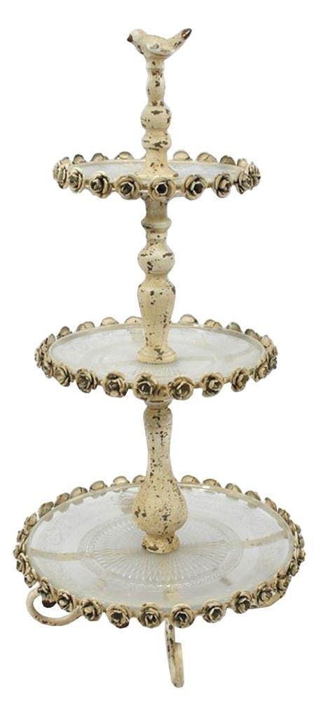 Vintage Métal Rose Design 2 Tier Cake Stand