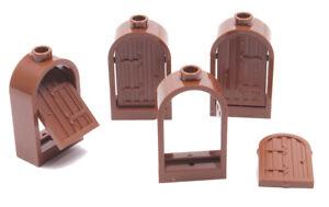 LEGO-4-Burgfenster-1x2x2-2-3-braun-mit-Holzladen-braun-30044-94161-NEUWARE