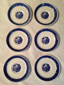 6 Pc Set Antique BUFFALO CHINA Blue Willow Saucers Plates Made In ...