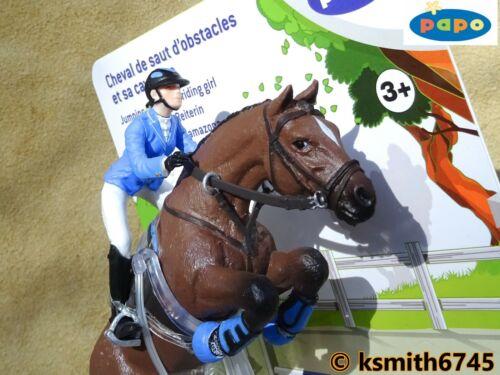 Papo Jumping Horse /& Girl Rider de plástico sólido Juguete Animal De Granja De Mascotas Nuevo *