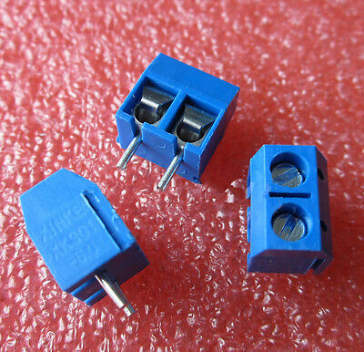 50PCS KF301-2P 2-Pin Plug-in Terminal Block Connector 5.08mm Pitch Through Hole
