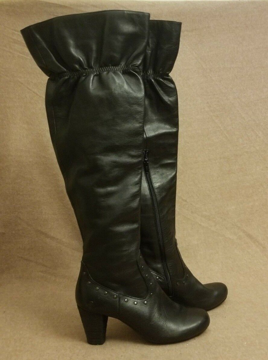 Born Women Tall Over The Knee Slouch Zip Up Black Leather Sexy Boots Sz 8.5   40