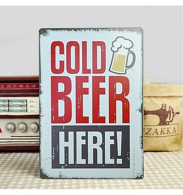 Vintage Tin Sign Wall Decor Metal Art Bar Pub Poster Welcome Beer Here Gold