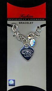 MLB-Arizona-Diamondbacks-Logo-Silver-Heart-Tag-Bracelet