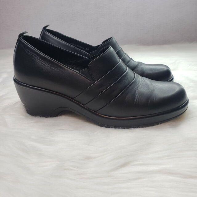 Dansko Black Leather Slip On Clogs Mules Aubrey Womens Size 39 2805EK Nursing