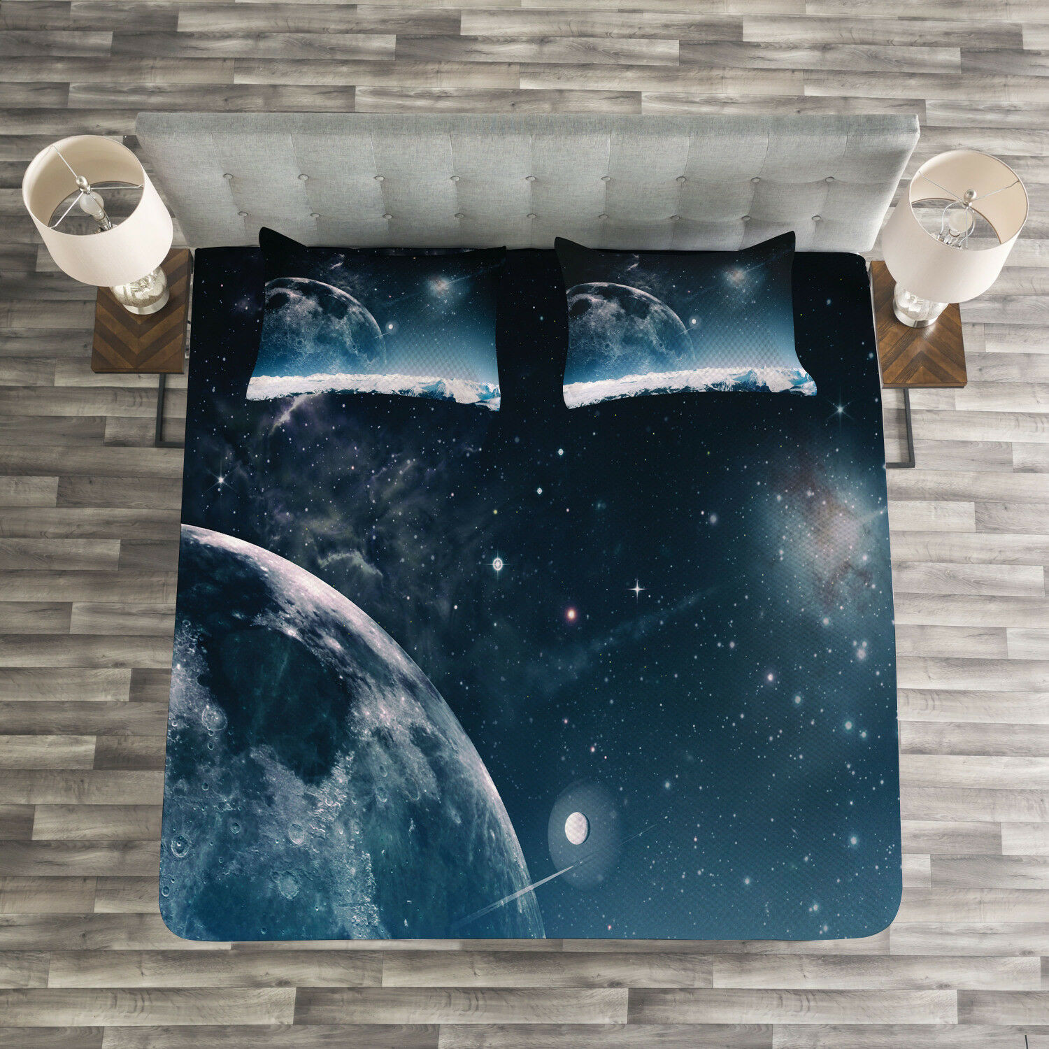 Universe Quilted Bedspread & Pillow Shams Set, Another World Infinity Print