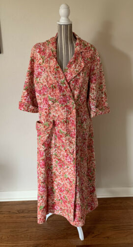 Vintage 1950S Quilted Housecoat Rosa Ray Pink Flor