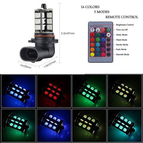 2X High Power 5050 Car LED Fog Light Bulbs Multi-color Remote Control RGB 9006