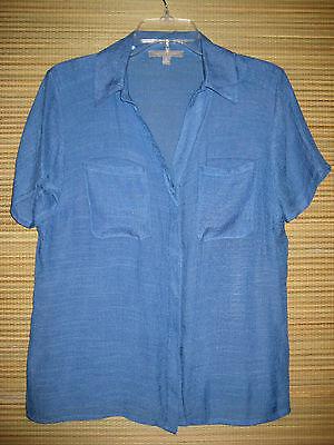 NY Collection Blue Button Front Slub Texture Short Sleeve Top Medium M