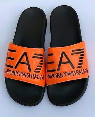Emporio Armani Ea7 Orange & Black Sliders Sandals Shoes Sizes Uk 6 - 11 Bnib