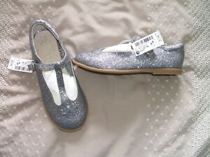 BNWT-Next-Pewter-Glittery-Star-T-Bar-Buckle-Shoes-Wedding-Size-12-EURO-30-5