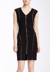 differently outlet new specials Details about Calvin Klein CD3X1C77 Black/Gold Zipper Detail Stretch Sheath  Dress, 4R - $132
