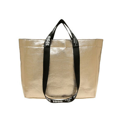 NEW Miss Shop Metallic Tote Bag Gold