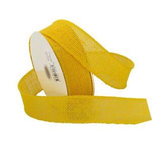 "Morex Ribbon Burlap Wired Ribbon, 1.5"" x 10 Yd, Yellow Bright Yellow"