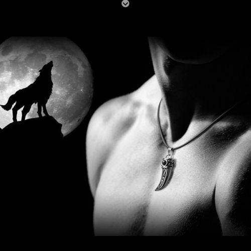 Herren Männer Wolfzahn Halskette Edelstahl lederkette Kette Anhänger Surferkette
