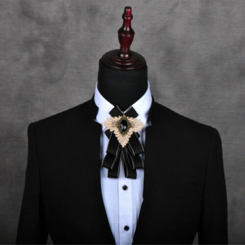 Mens Crystal Satin Check Bownot Bow Ties Fashion Suits Neck Decor Formal Wedding