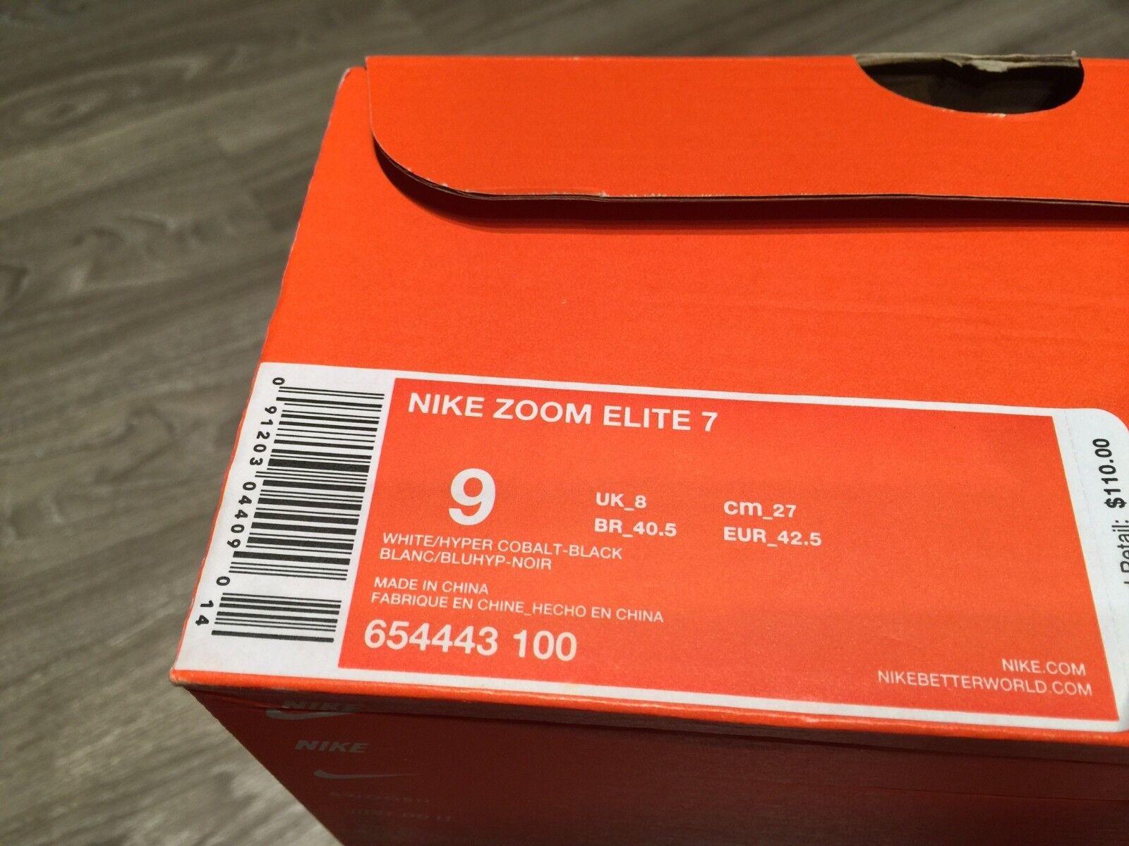 Nike Zoom Elite 7 Men Running Shoes White/Hyper Cobalt-Black 654443-100 NIB 110