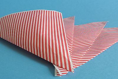 10 Papiertüten Spitztüten Streifen rot 19 cm Geschenktüten Papiertütchen Candy