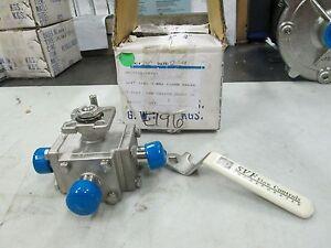 SVF-S-S-Sanitary-Flange-3-Way-Ball-Valve-3-4-034-Sanitary-Flange-SMC9-6666-AT-NIB