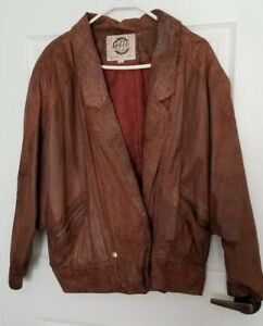 952329c8b Details about Global Identity G-III Mens Leather Coat Jacket Lined Brown  Snap Medium SR56