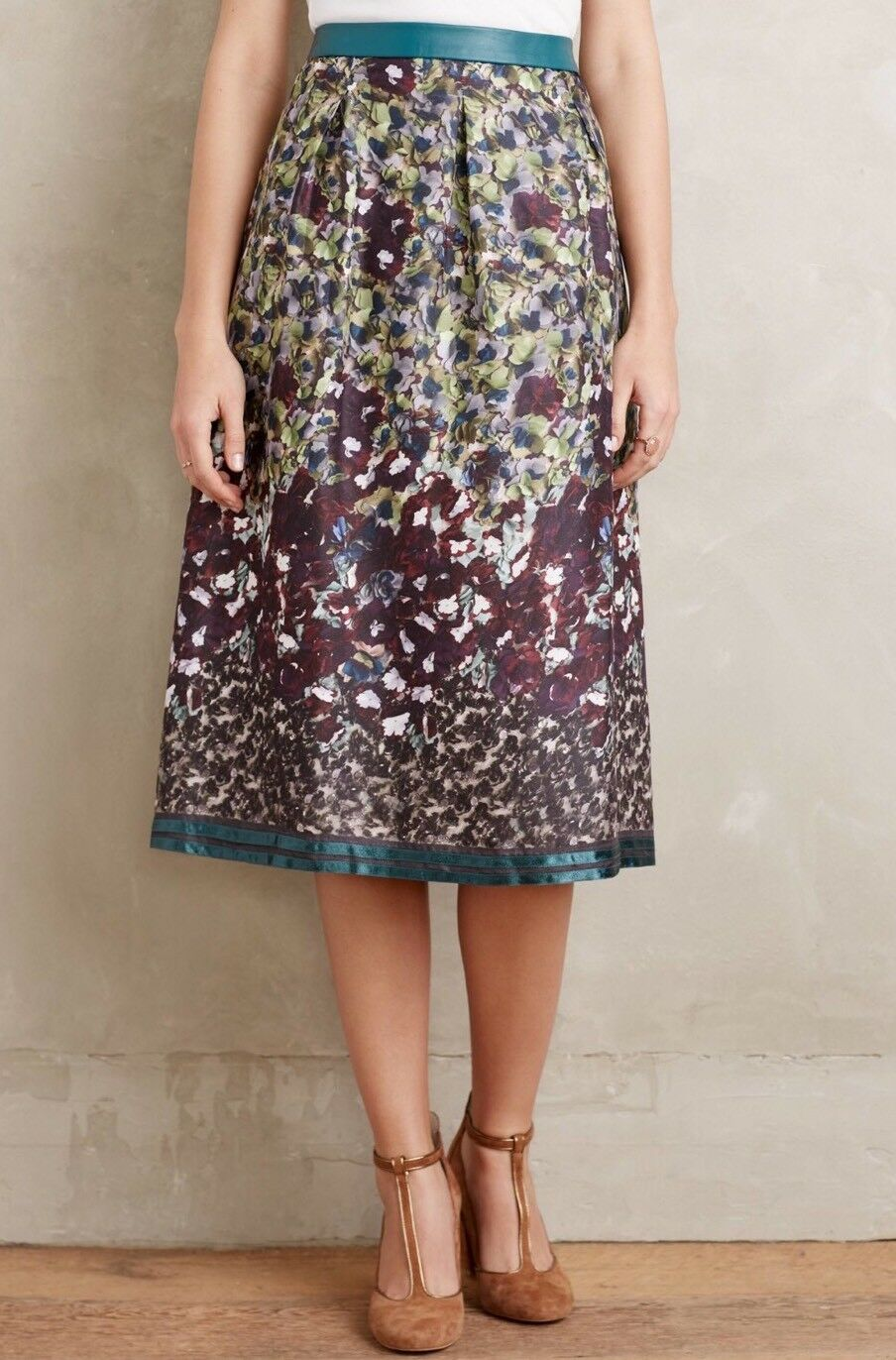 NWD Anthropologie Painted Petal Midi Skirt Size 6 Not So Serious PallaviMohan