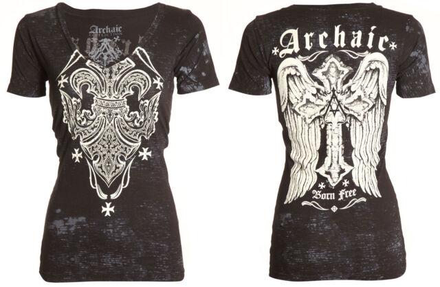 Archaic AFFLICTION Womens T-Shirt RUNE Cross Wings Tattoo Biker Sinful S-XL $38