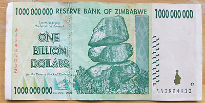 Harare 2008 3 Zimbabwe 1 Billion Dollar Banknote LOT of THREE