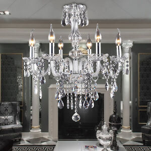 Image Is Loading E12 Elegant Crystal Candle Decoration Chandelier Pendant Ceiling