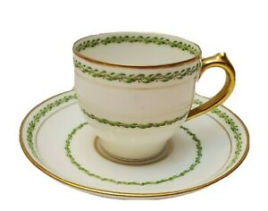 LIMOGES-FRANCE-CHARLES-F-HAVILAND-GREEN-LEAF-amp-GOLD-BAND-DEMITASSE-CUP-amp-SAUCER