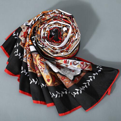 """Femme Foulard CARRE Vintage Imprimé Floral twill soie grand châle Wraps 51/"""" 51/"""""""