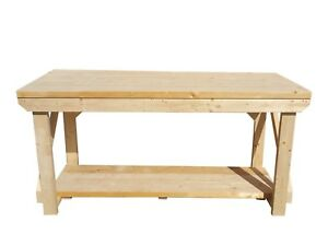 Wooden Garage Workbench Super Heavy Duty Industrial Table Made Of 2x6 Cls Wood Ebay