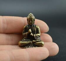 Chinese OLD pure brass hand carved sakyamuni Buddha small statue