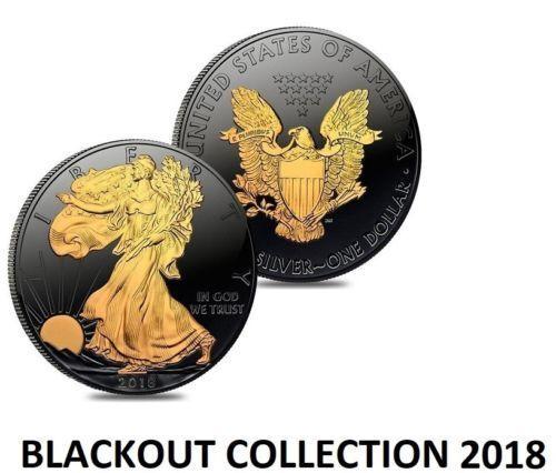2018 American Eagle BLACKOUT Silver Dollar Ruthenium /& 24K Gold ASE SAE w// COA