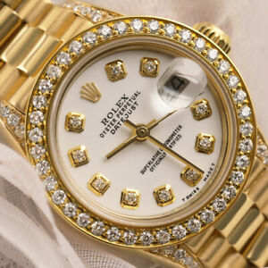 26mm-Rolex-18kt-Yellow-Gold-Presidential-White-Diamond-Dial-Ladies-Watch