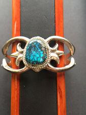 Vintage Sterling Silver Bracelet w/ Spider Web Turquoise Stone,Signed FL Begay